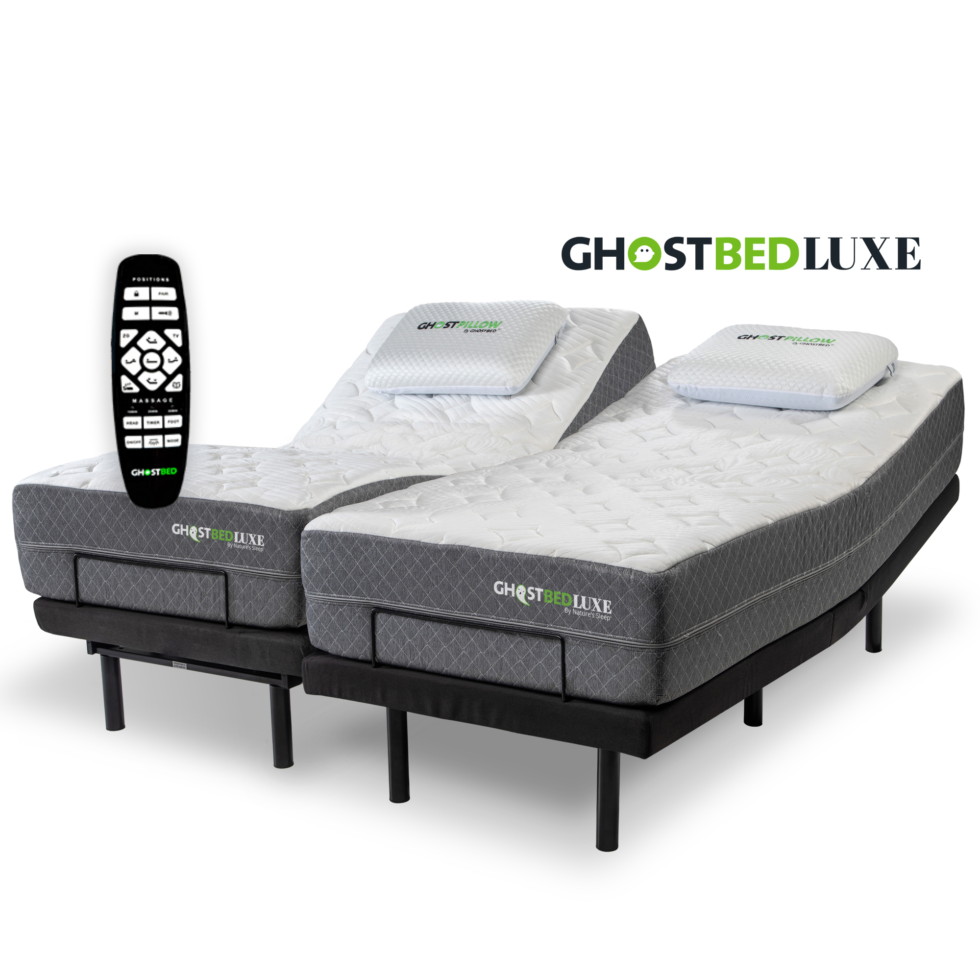 Head and Foot Incline Massage Comsuit Adjustable Bed Frame Base USB Charge Wireless Remote No Tools Required Assembly Twin XL Zero Gravity Under-Bed Lighting